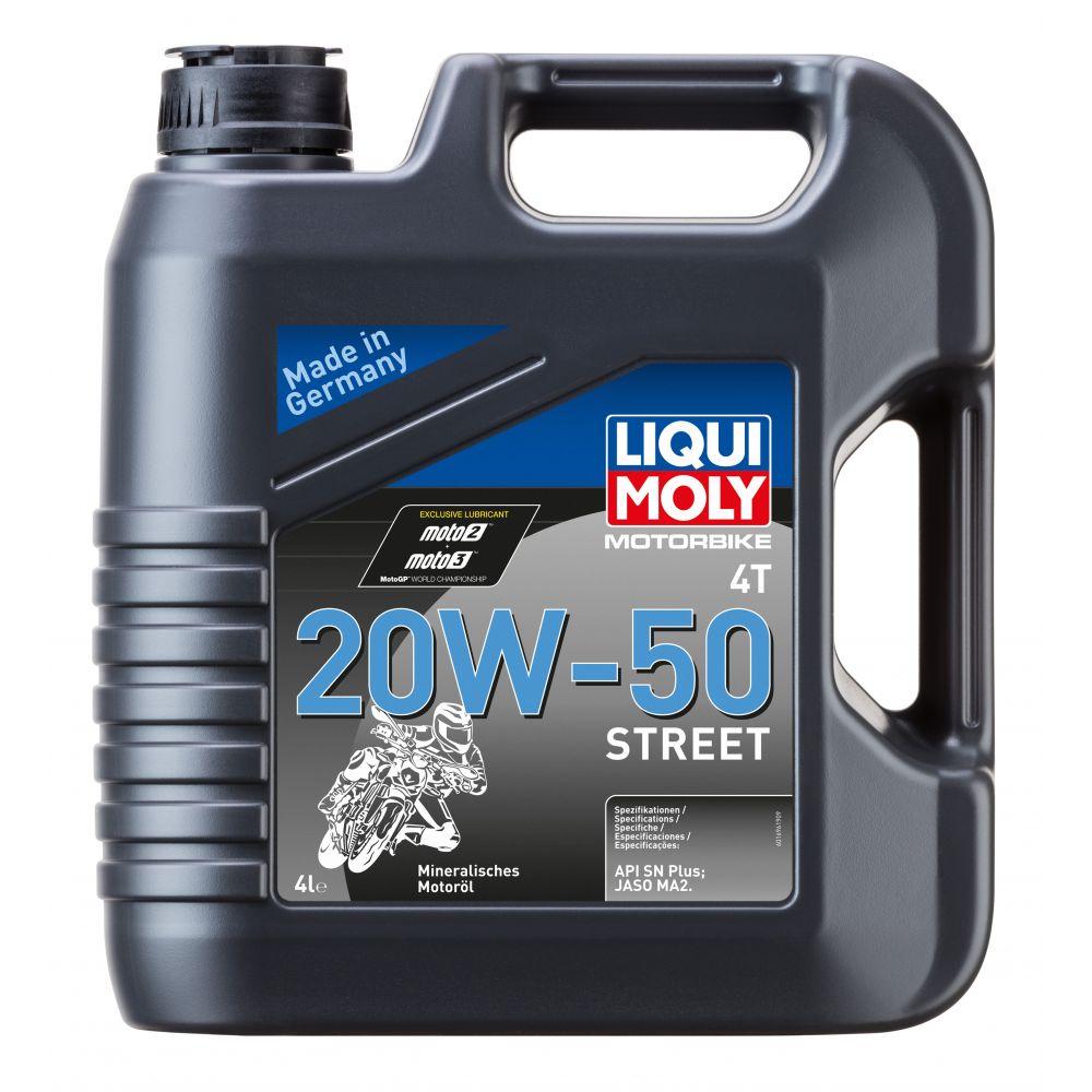 Моторное масло для 4-тактных мотоциклов LIQUI MOLY Motorbike 4T Street 20W-50, 4л