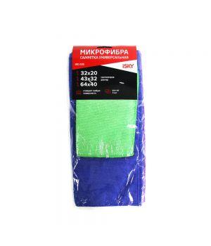 Набор салфеток для ухода за автомобилем iSky, 32х20 см 1 шт + 43х32 см 1 шт + 64х40 см 1шт