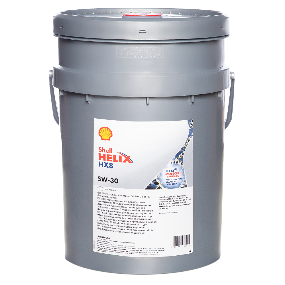 Моторное масло SHELL Helix HX8 Synthetic SAE 5W-30, 20л