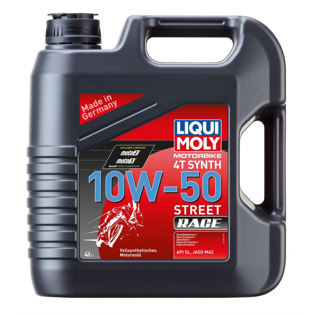 Моторное масло для 4-тактных мотоциклов LIQUI MOLY Motorbike 4T Synth Street Race 10W-50, 4л